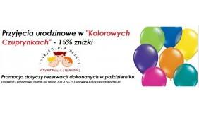 """Przyjęcia urodzinowe w """"Kolorowych Czuprynkach"""" 15% RABATU!!!"""